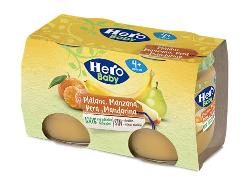 HERO BABY TARRITOS DE PLATANO, MANZANA, PERA Y MANDARINA 6 PACKS DE 2X120G