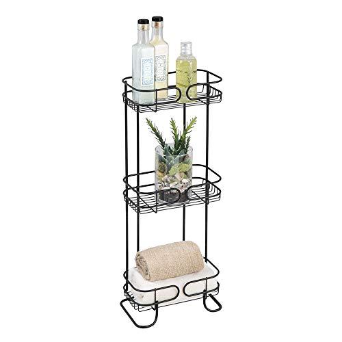 iDesign Neo Estantería, mueble de baño autónomo en metal, con tres estantes de ducha para gel y champú, negro mate, 25.4 x 16.5 x 66.7 cm