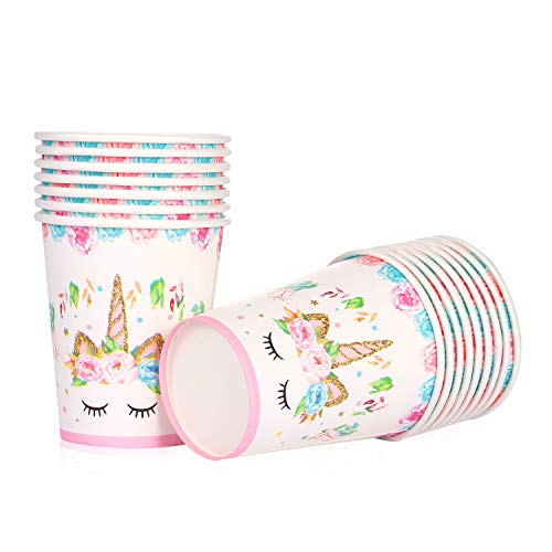 Unicorn Themed Party Supplies - Unicorn Paper Cups | 9 oz, Disposable | Magical Unicorn Birthday Party Decorations for Girls and Baby Shower - Set 16