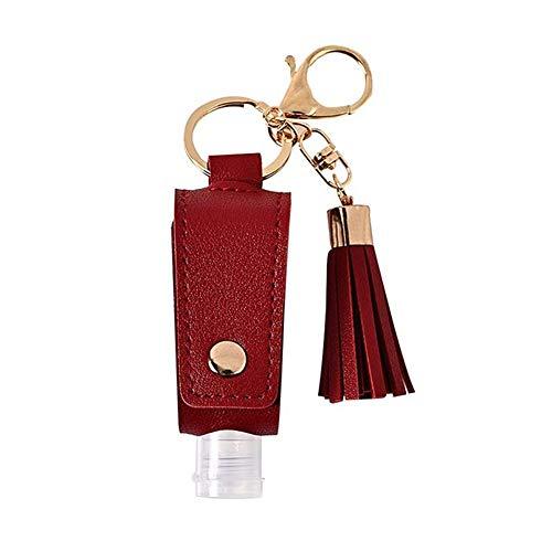 Bote Dispensador de Gel con Llavero y Gancho 30ML (1 Bote Gel Flecos Rojo)