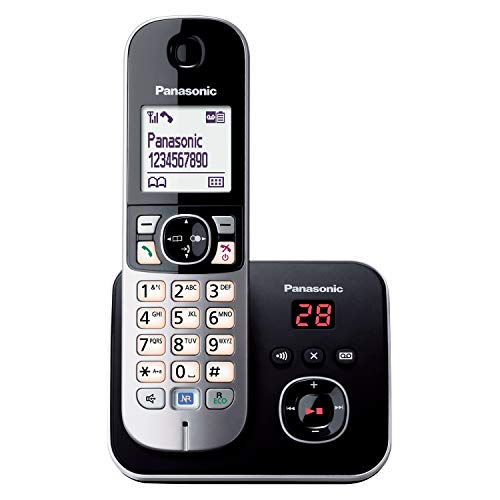 Panasonic KX-TG6821GB DECT Schnurlostelefon mit Anrufbeantworter (strahlungsarm, Eco-Modus, GAP Handy, Festnetz, Anrufsperre) schwarz
