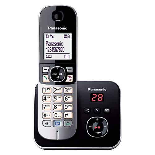 Panasonic KX-TG6821GB DECT Schnurlostelefon mit Anrufbeantworter (strahlungsarm, Eco-Modus, GAP Telefon, Festnetz, Anrufsperre) schwarz