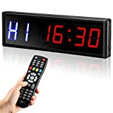 Seesii LED Interval Timer Gym Timer with Remote, 2.3' Digits Workout Timer Count Down/Up Clock Stopwatch Timer for Home Gym Crossfit Tabata EMOM MMA