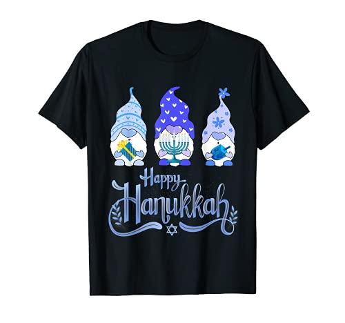 Happy Hanukkah 2021 Gnome Menorah Dreidel Costume T-Shirt