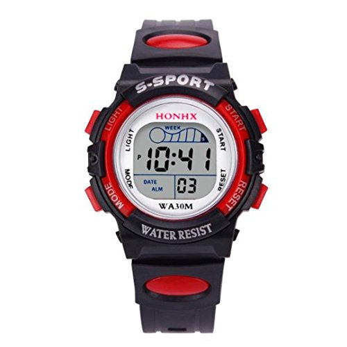 Kinder Uhren Digital Xinantime 2018 wasserdichte Jungen Digital LED Sport Kinder Alarm Datum Geschenk Armbanduhren Schwarz/Blau/Orange/Rot/Gelb (Standard, Rot)