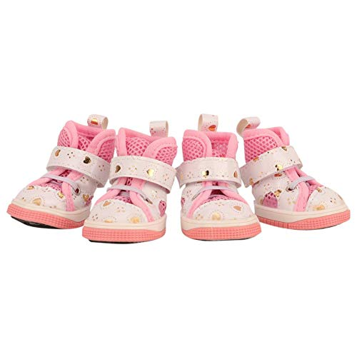 wosume Zapatos Antideslizantes, Sandalias de Tela Transpirable Antideslizantes, Rosa para Perros domésticos(No 4)