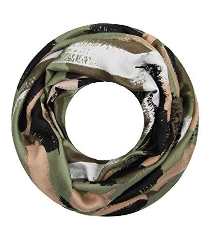 Majea Damen Loop Schal viele Farben tolle Muster Schlauchschal Halstücher (grün 14)