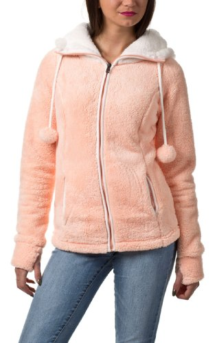 Sublevel Damen Damen Teddy Fleece Jacke Eule mit Oh, pastel orange, S