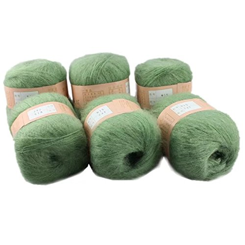 Celine lin 6 Skeins Smooth &Warm Angola Mohair Plush Cashmere Wool Knitting Yarn 300g,Grass Green