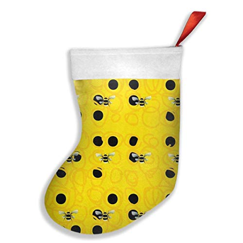 FASHION Hanging Stocking Bag,Bumble Bees New Christmas Stocking Tube Socks Party Stocking Decoration 3D Printed Graphic Stocking Holder,Christmas Decor Gift Storage with Loop to Hang