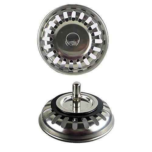 2 Pezzi Tappo/Cestello basket, Drainer di lavandino da cucina, Acciaio inossidabile, Diametro 79.3mm
