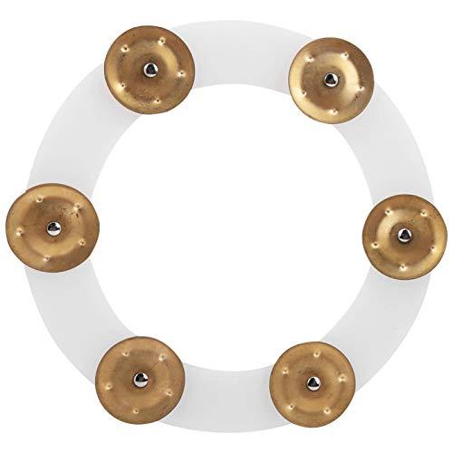 Platillos de tambor Pandereta de charles, Pandereta de tambor de metal de alto rendimiento, Plata y oro Práctica resistente para tocar en conciertos Entusiasta de la música(Golden)