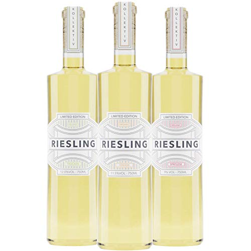 Kollektiv IV Riesling-Probierset   Trocken - Feinherb - Spätlese   3x 0,75l Weißwein Geschenkset regional produziert - Hochwertiger Bio Vegan Wein - Nachhaltiger Weisswein