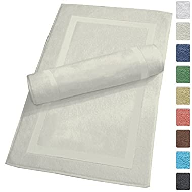 SALBAKOS Luxury Hotel and Spa 100% Turkish Cotton Banded Panel Bath Mat Set 900gsm! 20 x34  (Ivory, 2 Pack)