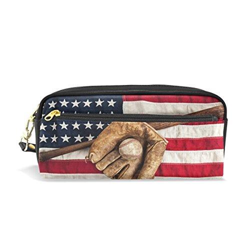 WAMIKA Vintage Baseball Bat Handschuh Federmäppchen Pen Tasche mit Reißverschluss Münze Organizer Tasche, Patriotische amerikanische Flagge USA stern streifen Kosmetiktasche Make-up Tasche für Frauen