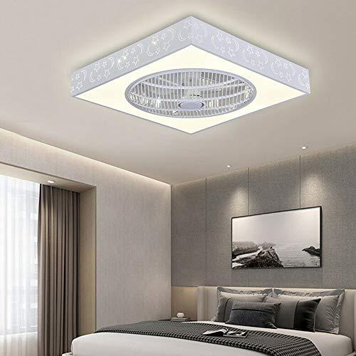RDFlame - Ventilatore da soffitto con illuminazione e telecomando, forma quadrata, con luce LED, 3 temperature di colore, velocità del vento regolabile [classe energetica A++] (stelle e luna)