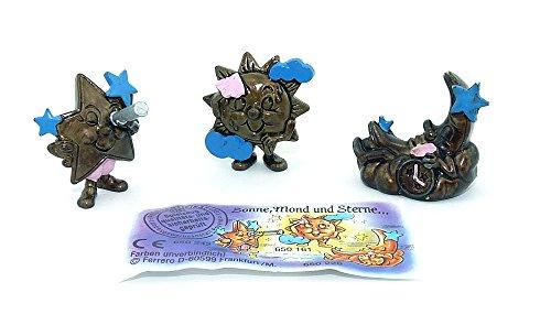 Sonne Mond und Sterne Figuren aus dem Kinder Überraschungsei Figurensaatz mit Beipackzettel