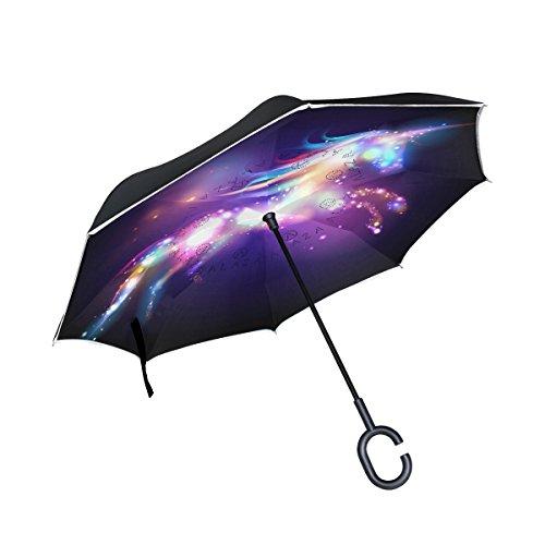 Mnsruu Paraguas invertido de Doble Capa con diseño de Unicornio mágico de Estrella y protección UV para Uso en Coche, Lluvia al Aire Libre con Mango en Forma de C