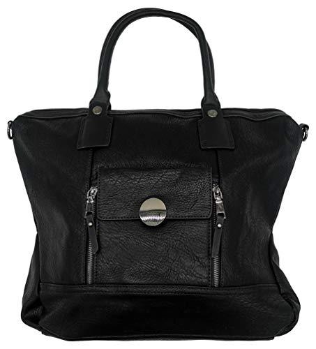 Handtasche Shopper Tasche Shopperbag Umhängetasche (schwarz)