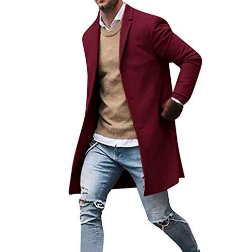 Cappotti da Trincea Casual da Uomo Autunno Inverno Maniche Lunghe Slim Giacca Lunga Button Blazer Cappotto(Anguria Rossa,M)