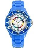 Alienwork IK Lernuhr Kinder Armbanduhr für Jungen Mädchen blau mit Silikon-Armband Mehrfarbig Kinder Kinderuhr Wasserdicht 5 ATM