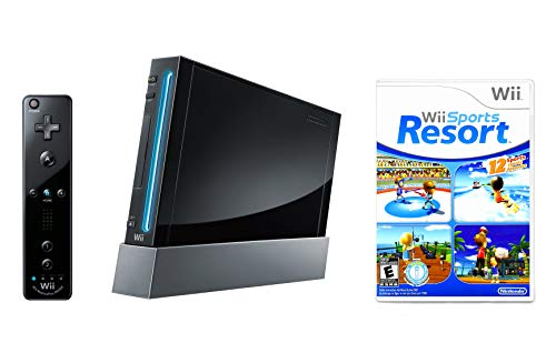 Nintendo Wii Console Black with Wii Sports Resort (Renewed)