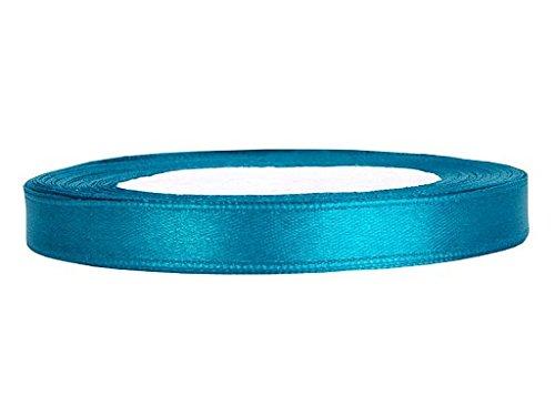 SATINBAND 25m x 6mm HOCHZEIT DEKOBAND Geschenkband Antennenband Schleifenband, Farbe:TÜRKIS