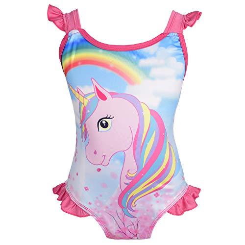 Lito Angels - Unicorno Costume da Bagno Intero per Bambine, Estate, Spiaggia, Piscina, Taglia 5-6 Anni, Rosa Caldo, Stile D