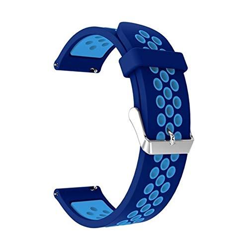 Lwwhama Para Huami Amazfit GTS 2 & GTS2 Mini BIP U POP GTR 42mm Correa Pulsera de silicona 20 mm Reloj Reloj Reemplazo Reloj de reloj transpirable ( Band Color : Blue light blue , Band Width : 20mm )