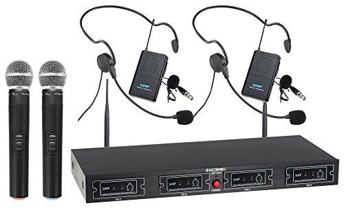 McGrey UHF-2V2H Quad Funkmikrofon Set (4-Kanal UHF-Empfänger, 2 dynamischen Handmikrofone, 2 kompakte Funk-Taschensender mit Gürtelclip, 2 Headsets, Reichweite 50 Meter, Betriebsdauer ca. 8 Stunden)