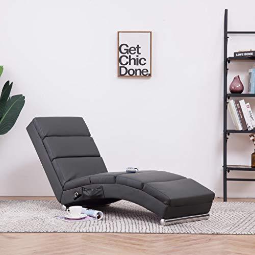 Festnight- Massage Relaxliege | Wohnzimmer Liegesessel | Modern Relaxsessel | Liegestuhl | Sofaliege | Polsterliege | mit 5 Massagemodi und Heizfunktion | Braun/Grau Kunstleder 155 x 51 x 71 cm