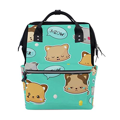 JDHFJ mochila de momia Diaper Bag Cute Cat Emotion Travel Backpack Large Capacity Shoulder Mom Bags for Travel Mammy Women Girls