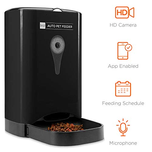 Best Choice Products 4.5L Smart Automatic Pet Feeder w/HD Camera, Smartphone App, Portion Control, 2-Way Audio - Black