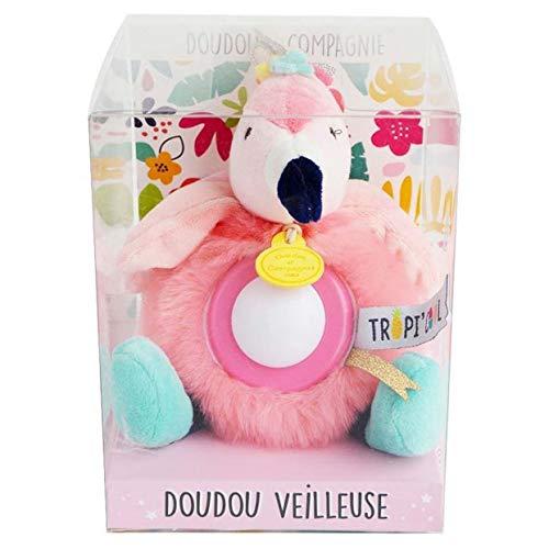 Doudou et Compagnie - Peluche Veilleuse Enfant Flamant Rose - Veilleuse Lumineuse - Jolie Boîte Cadeau - 20 cm - Rose - Tropicool - DC3355