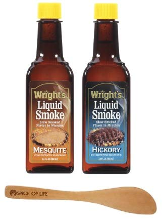 Wrights Liquid Smoke, Mesquite and Hickory, 3.5 Oz (Pack of 2) - with Spice of Life Mini Spatula