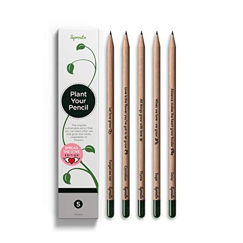 Sprout Lápices plantables Love Edition Box | Pack de 5 | lápices de grafito plantables | de madera ecológica I Un regalo desde el corazón