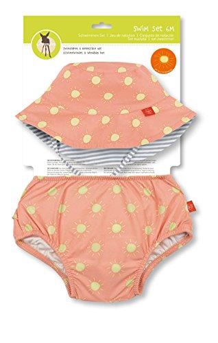 LÄSSIG Baby Kinder Bade Set Hut (wendbar) und Schwimmwindel waschbar Auslaufschutz UV-Schutz 50+/Baby Swim Set girls, Sun, 18 Monate, orange