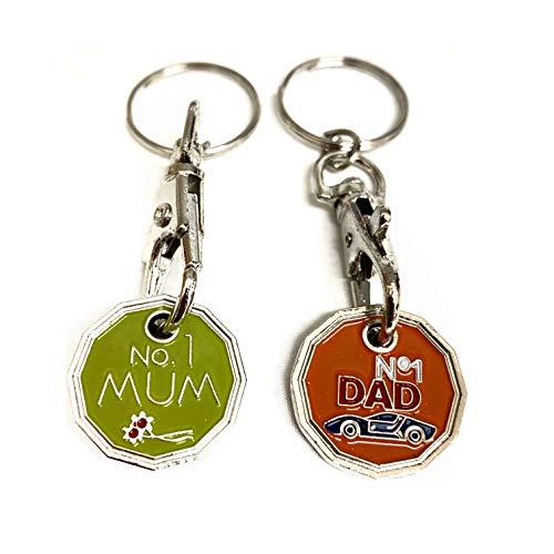 UK Phoenix Shopping Trolley Token Key Ring 12 Sided £1 Pound Coin Shape Shop Key Chain Token Locker Gym Shopping Basket Asda Aldi Lidl Tesco (No 1 Mum & No 1 Dad))