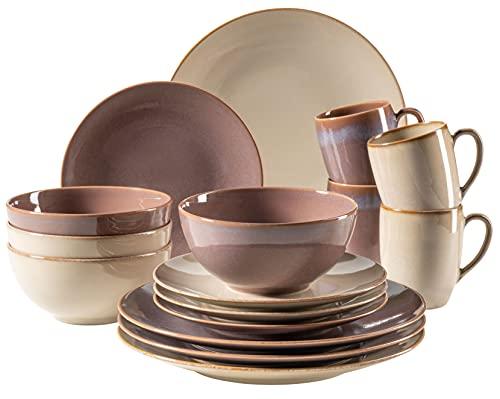 MÄSER 931910 Serie Ossia - Vajilla para 4 personas (cerámica, 16 piezas), diseño vintage mediterráneo, color marrón y gris