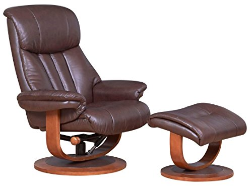 GFA Hereford Genuine Leather Saddle Brown Swivel Reclining Chair Matching Footstool