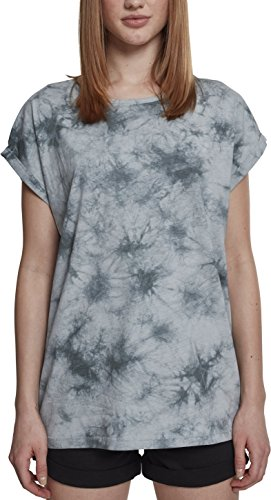 Urban Classics Damen Ladies Batic Extended Shoulder Tee T-Shirt, Mehrfarbig (Lightmint/Darkgrey 01309), Large (Herstellergröße: L)