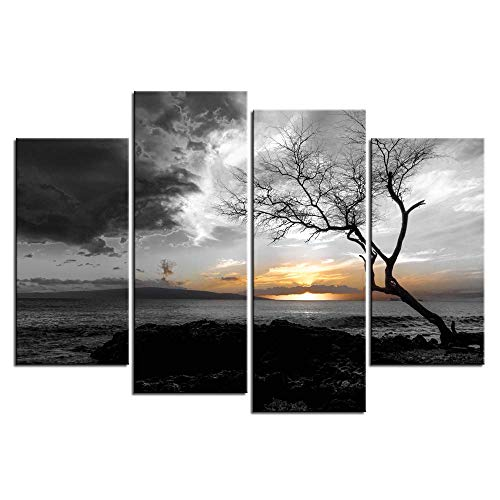 LevvArts - 4 Panel Black and White Canvas Print Wall Art Lonely Tree in