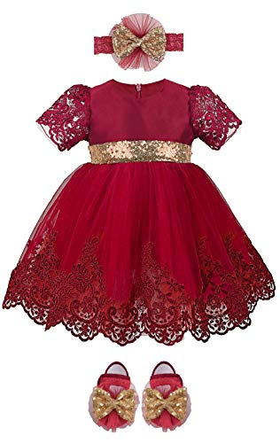 Lilax Baby Girl Newborn Lace Princess Wedding Party Dress Gown 4 Piece Deluxe Set 0-3 Months Red