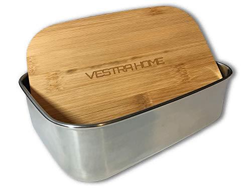 VESTRA HOME | Lunchbox aus Edelstahl | Bambusdeckel | 1.200 ml | 100{bdae74473f35a6510ddd256d7aab598dcfdda2f684d742bdfaa746af73c8b1d6} Plastikfrei (Bambus, 1.200 ml)