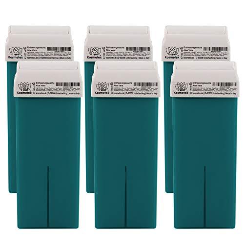 Kosmetex Aloe Vera Warm-Wachspatrone, Enthaarungswachs, Warmwachs-Patronen, Körperpflege Haarentfernung, 6 Stück