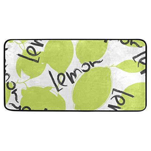 "Kitchen Rugs Green Lime and Lemon Design Non-Slip Soft Kitchen Mats Bath Rug Runner Doormats Carpet for Home Decor, 39"" X 20"""