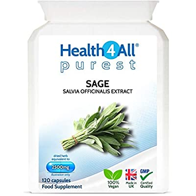 Sage Strong 2500mg 120 Capsules (V) Purest- no additives Capsules (not Tablets). Works for Hot Flushes, Night Sweats and Menopause Symptoms. Vegan. Made by Health4All