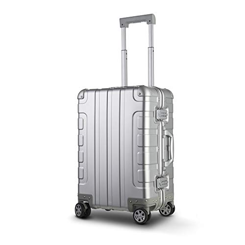 Bamboo Wolf 24-inch Aluminum-Magnesium Alloy Carry-on Hardside Suitcase Hard Shell Luggage, Built-In TSA Lock, Zipperless Fashion with Spinner Wheels for Travel / Business, Silver