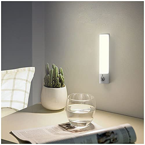 Luz de Noche, SECRUI USB Recargable Luz LED Armario Sensor Movimiento 3 Modos y Cinta Adhesiva Magnética LED Luz Nocturna Interior para Pasillo, Escalera, Sótano, Cocina, Gabinete y Baño