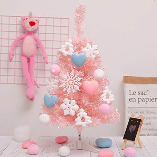 WOODEN TEETHER Tabletop Christmas Tree, Small Artificial Xmas Tree with Pendants, Mini Pink Christmas Tree for Christmas Decorations,Home,Kitchen,Dining Table Xmas Indoor Decor 23inch,Pink